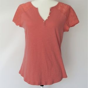 Chaps Coral Henley Cap Sleeve Tee Lace Sleeves
